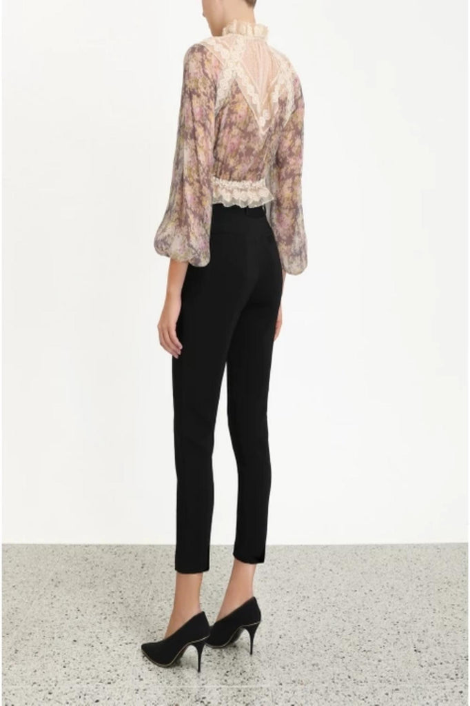 Zimmermann Top Sabotage Lace Yoke Blouse, Violet Posy Soho-Boutique