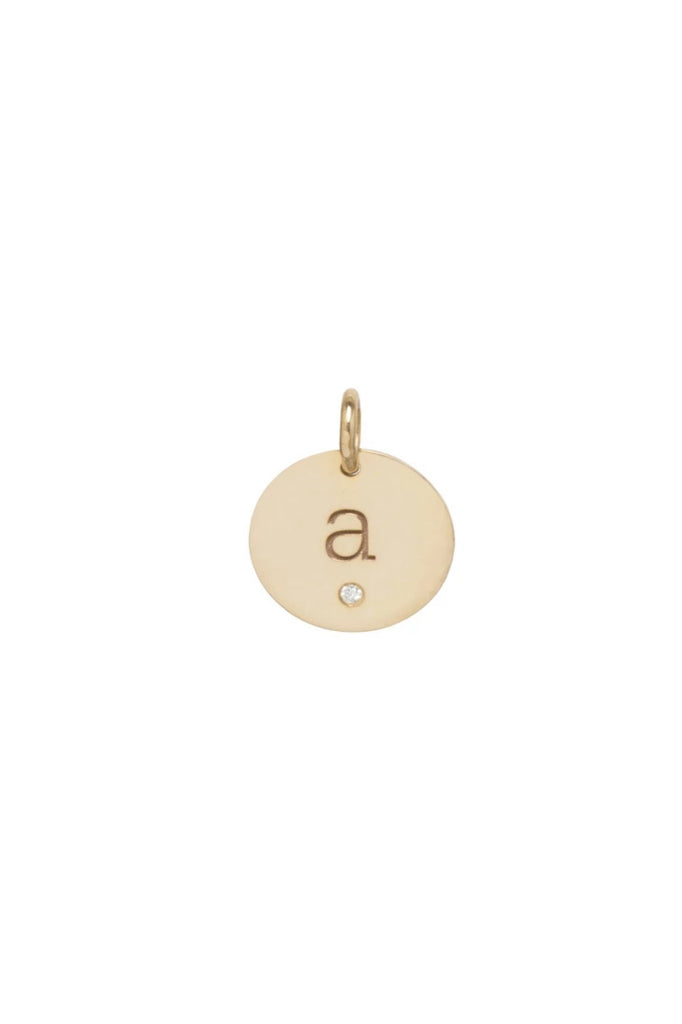 "Zoe Chicco Fine Jewelry 14K Gold Medium Disc Charm lower case ""a"" and single flush diamond Soho-Boutique"