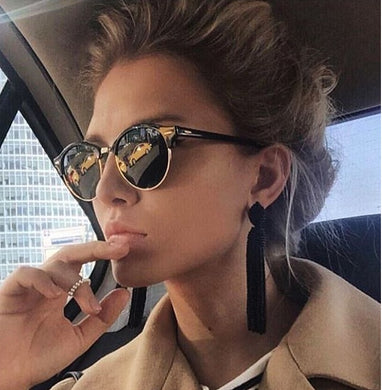Hot Rays Sunglasses Women Popular Brand Designer Rivet Frame Colorful Coating Shades