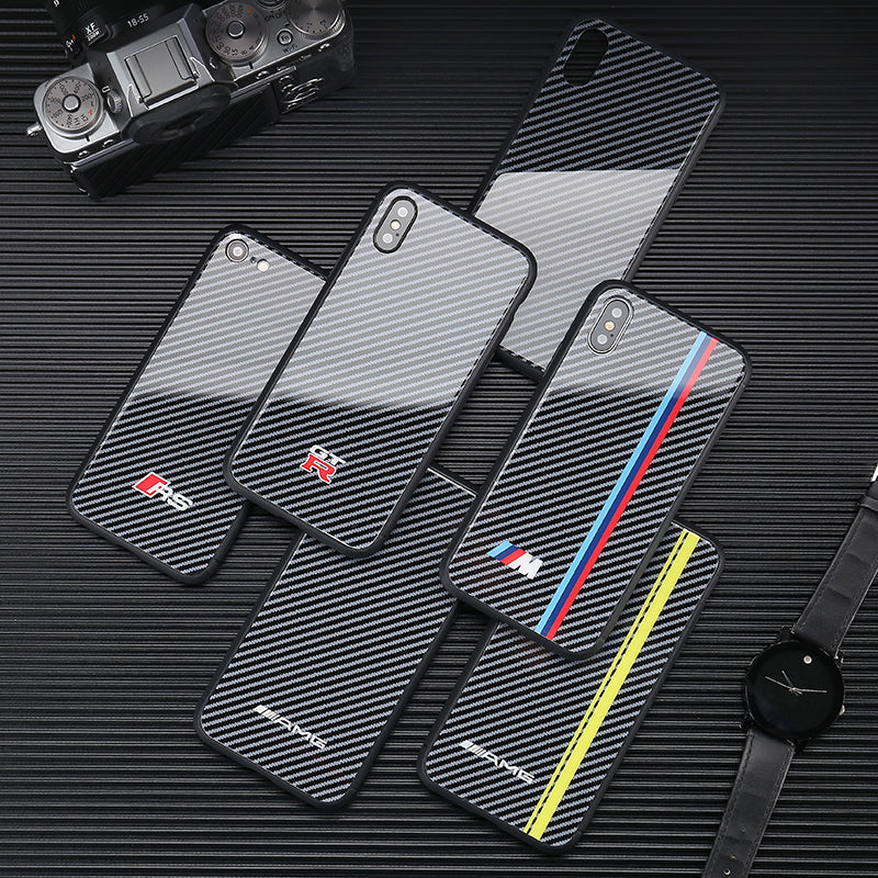 Glass Audi RS Carbon Fiber iPhone Case - Cadille