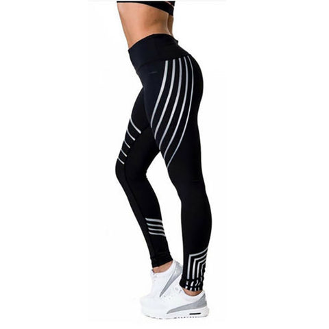 Lazer shine prints black leggings
