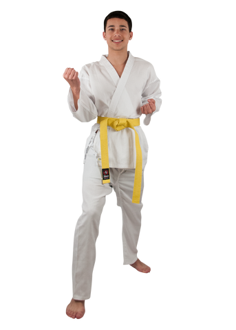 Zen Athletics Yellow Logo 7oz Student Karate Uniform