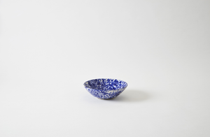 Blue on Cream Splatterware Pasta Bowl