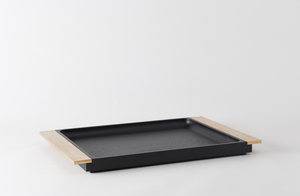 Michaël Verheyden Black Oak Serving Tray with Brushed Bronze Handles
