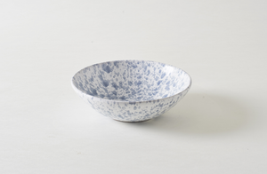 Grey on White Splatterware 13 Inch Serving Bowl