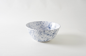 Grey on White Splatterware 14.5 Inch Serving Bowl