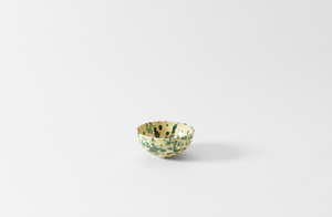 Green on Cream Splatterware Cereal Bowl
