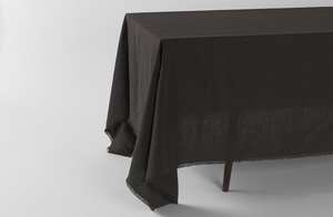 Boxwood Linen Arabica Fringed Tablecloth
