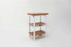 MARCH Small Worktable with Two Shelves by Union Studio