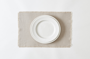 Boxwood Linen Flax Fringed Placemat