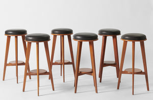 Vintage Michael Taylor White Oak Bar Stools with Leather Seats