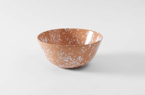 White on Terracotta Splatterware 14.5 Inch Serving Bowl