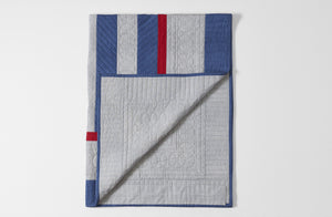 MARCH Blue and Light Grey Stripe Quilt