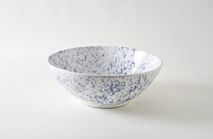 Grey on White Splatterware 18 Inch Serving Bowl
