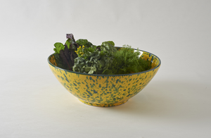 Green on Yellow Splatterware 18 Inch Serving Bowl