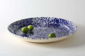 Blue on Cream Splatterware 20.75 Inch Platter
