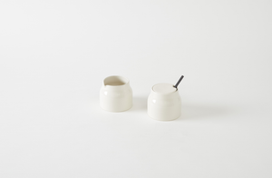 John Pawson Sugar Pot and Milk Jug with Ebony Spoon