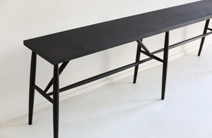 Sawkille Co. Ebonized Black Walnut Long Square Top Bench