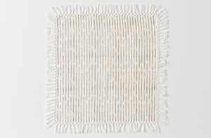 Les Indiennes French Grey Broken Stripe Fringe Napkin