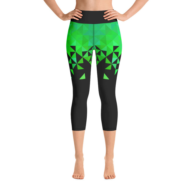Geometrico Turchese Yoga Capri Leggings