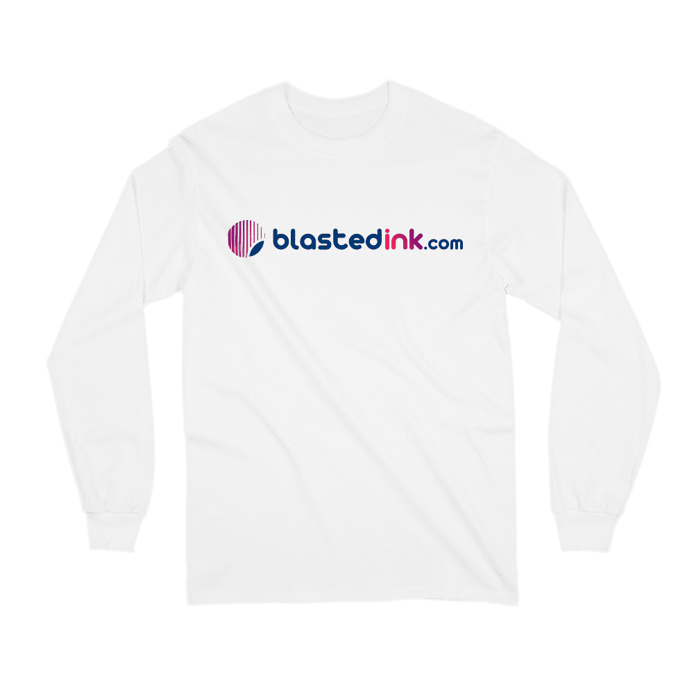 Classic White Blasted Ink Long Sleeve Shirt