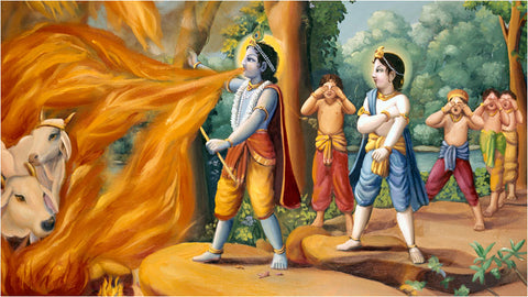Krishna Saving Cows from Fire