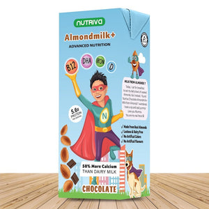 Nutriva Almond Milk + for Boy Super Hero's Lactose Free Nutritional Drink from Real Almonds and Pea Protein