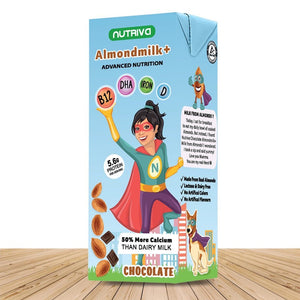 Nutriva Almond Milk + for Girl Super Hero Lactose Free Nutritional Drink from Real Almonds and Pea Protein