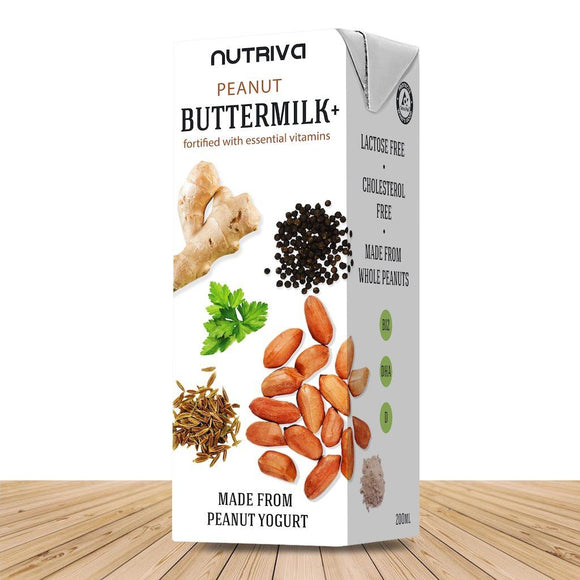 Nutriva Peanut Buttermilk + World's First Healthy Cholesterol Free and Dairy Free Buttermilk