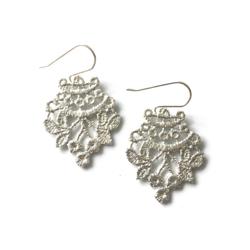 sterling silver cast lace earrings