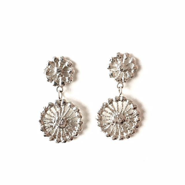 sterling silver cast lace chandelier earrings