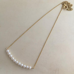 Gold-Filled Pearl Bar Pendant