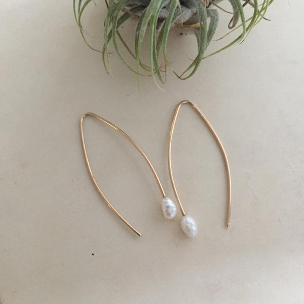 14k Gold and Rice Pearl Hooks