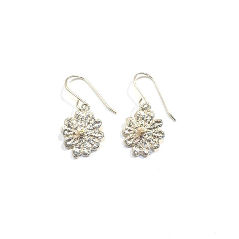 sterling silver and 14k gold cast lace earrings