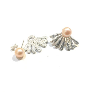 sterling silver cast lace earring jackets with freshwater pearls