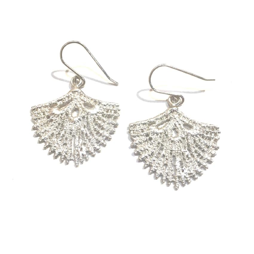 Sterling silver cast lace shield shaped earrings