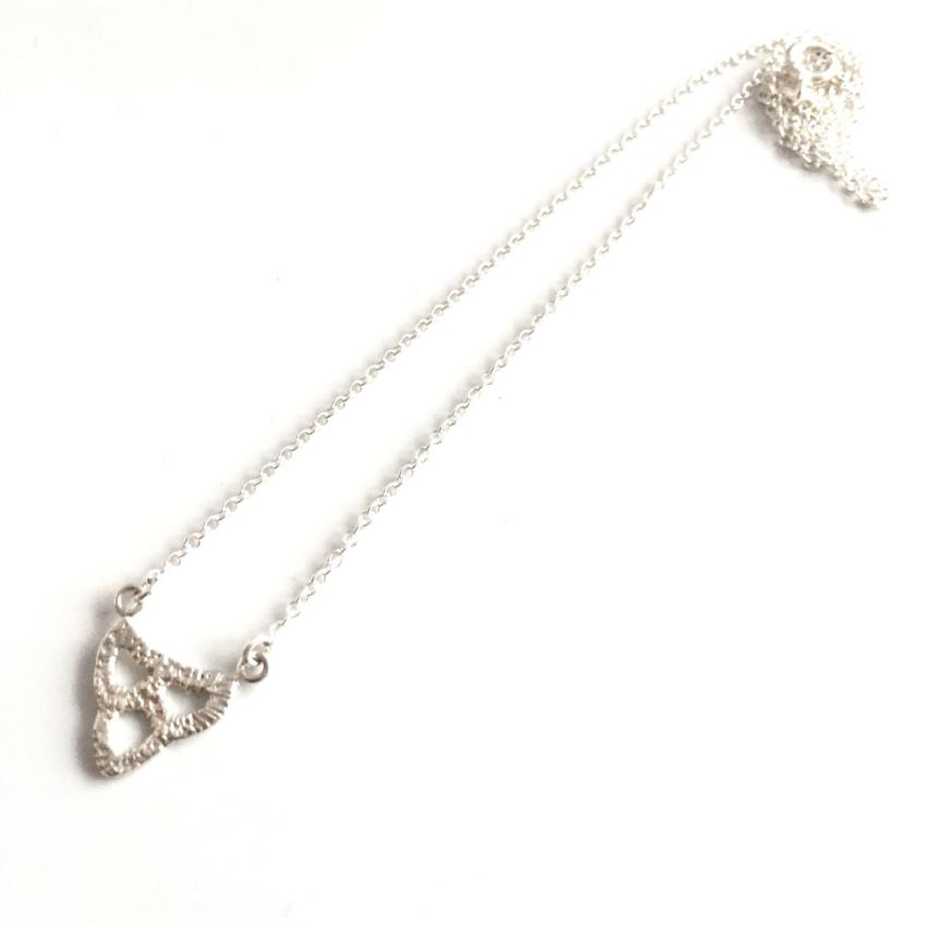 sterling silver cast lace scallop arch pendant