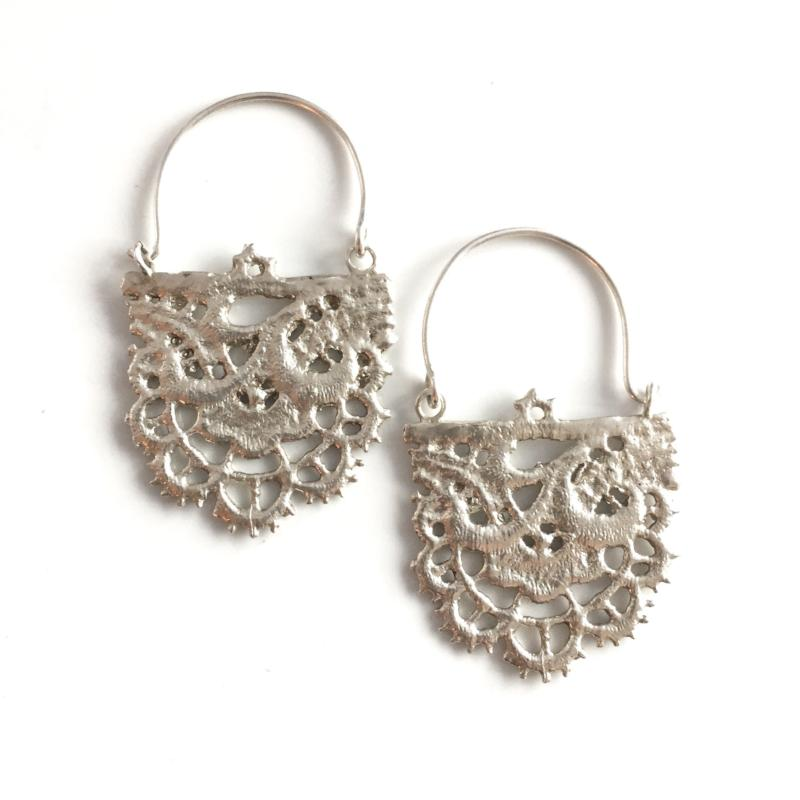 sterling silver cast lace earrings with floral pattern
