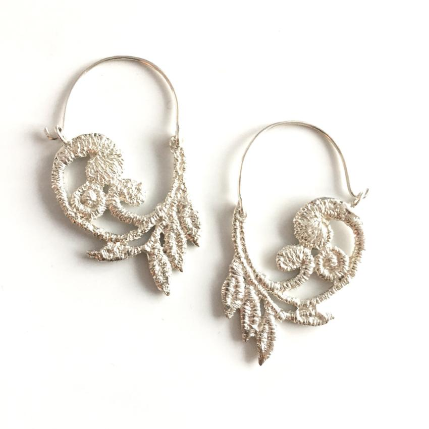 Sterling silver cast lace vine hoops
