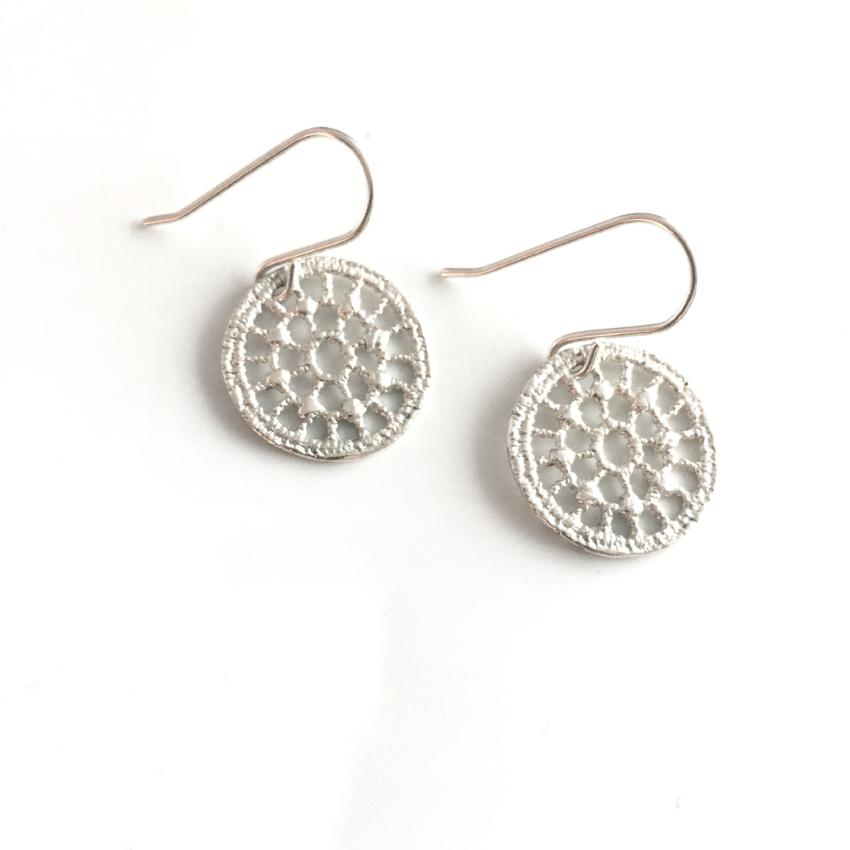 sterling silver cast lace circle earrings