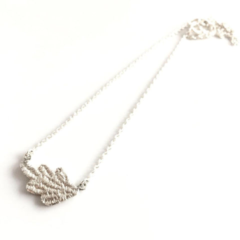 sterling silver cast lace leaf pendant