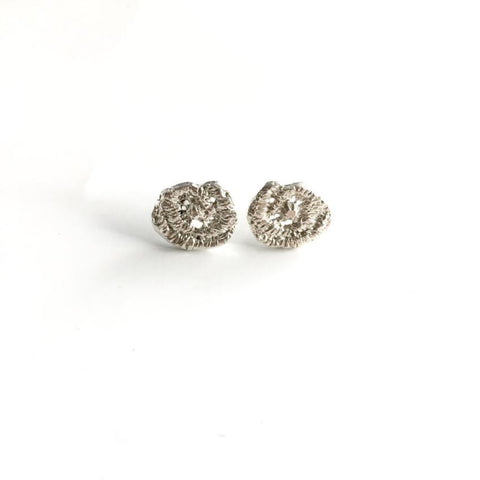 sterling silver cast lace rose earrings