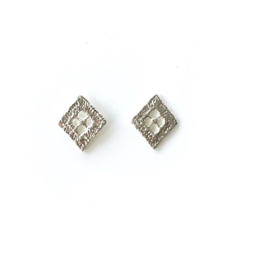 sterling silver cast lace diamond earrings