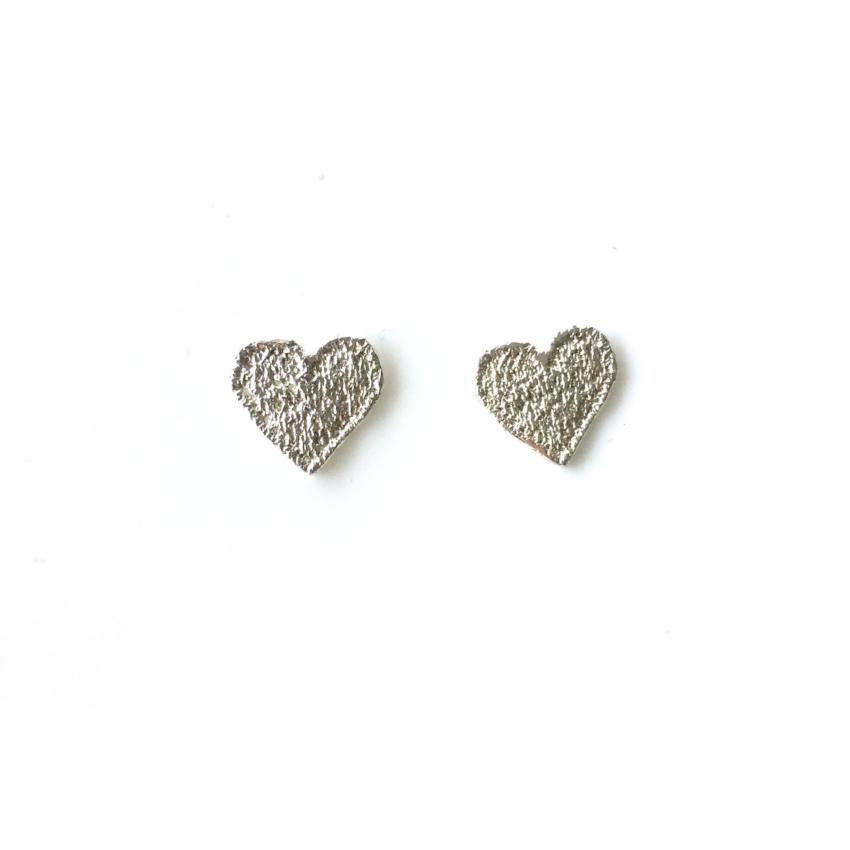 sterling silver cast lace heart earrings