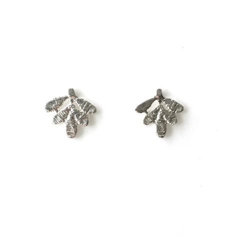 sterling silver cast lace small leaves earrings