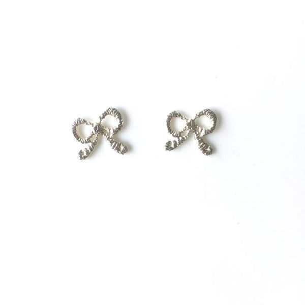 sterling silver cast lace bow earrings