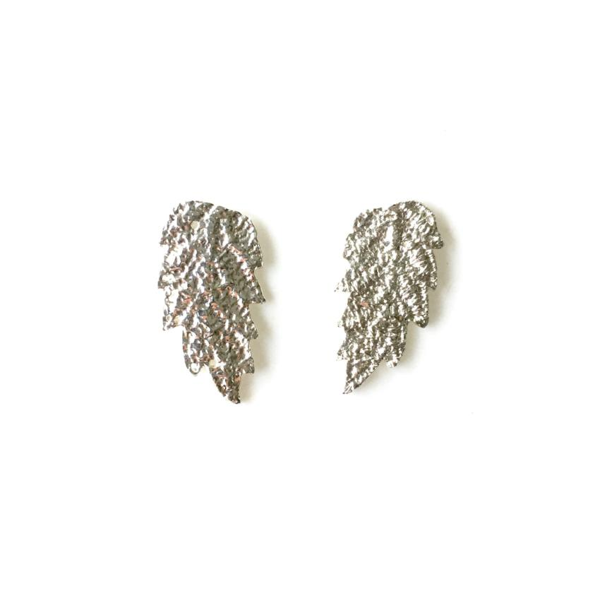 Sterling silver cast lace leaf earrings