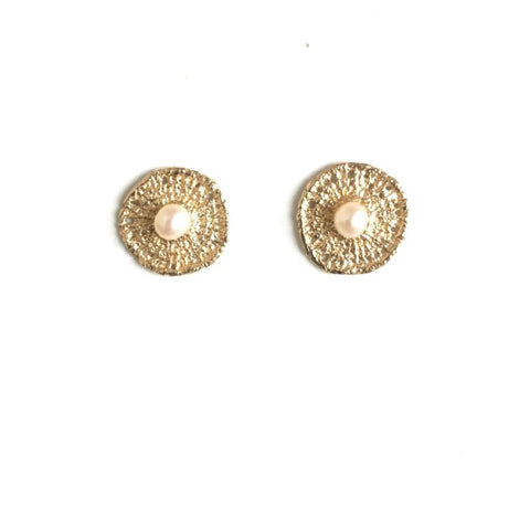 14k Yellow Gold Circle Lace Studs