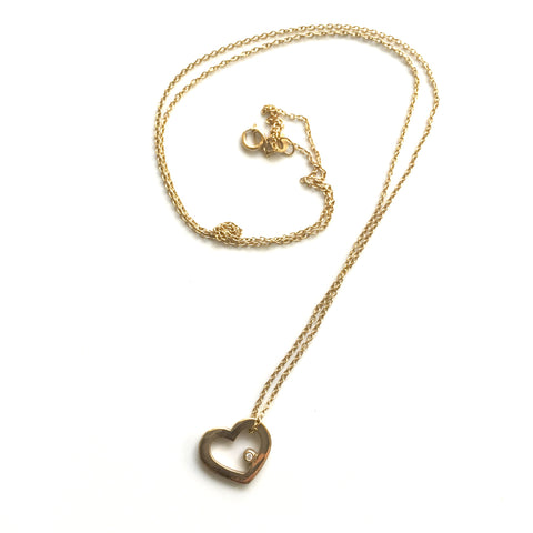14k Gold Floating Heart Pendant with Diamond