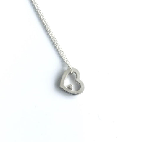 Sterling Silver Floating Heart Pendant with Diamond